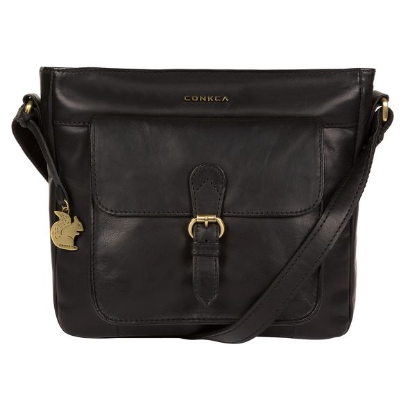 London cross Black leather bag Conkca handcrafted 'Olina' body znvAXXHw