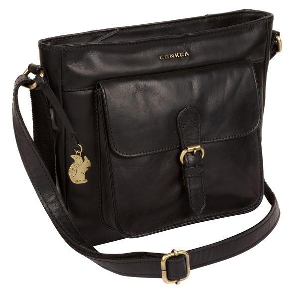 'Olina' London bag Black body handcrafted Conkca leather cross fE6qxdw