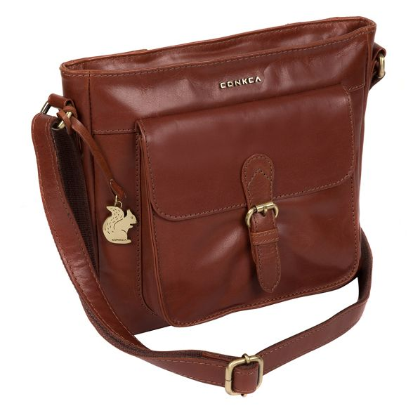 'Olina' London leather cross Cognac bag handcrafted Conkca body T7xnaE