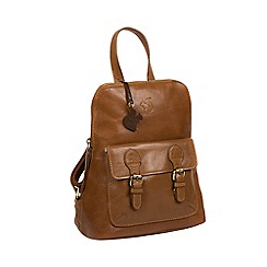 Conkca London - Dark tan 'Kendal' handcrafted leather backpack
