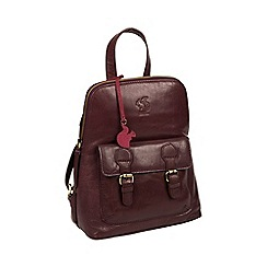Conkca London - Plum 'Kendal' handcrafted leather backpack