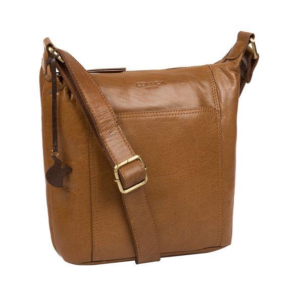 London Conkca Dark body leather 'Yasmin' bag tan cross pdqxBd