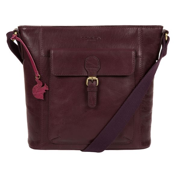London cross bag leather body Conkca handcrafted Plum 'Vonda' BxOdqFqP