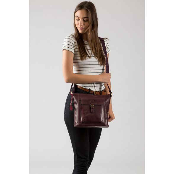 'Vonda' London Plum Conkca leather cross body handcrafted bag BqfESxw1