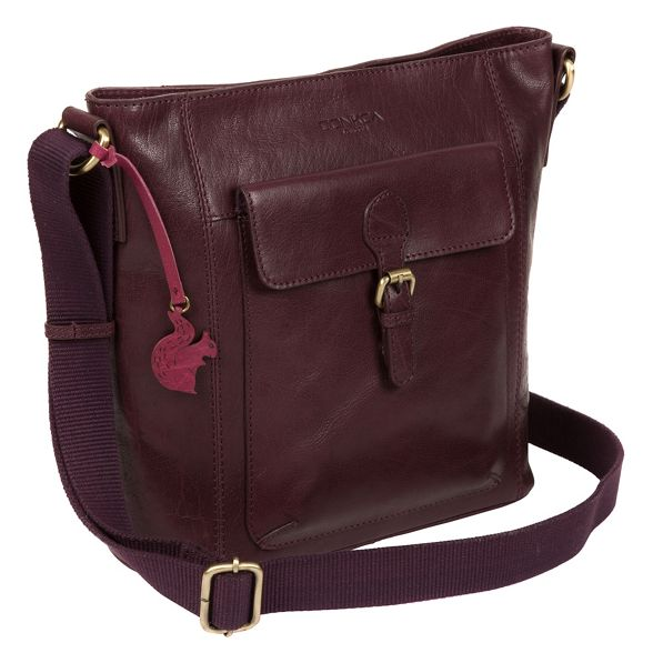 handcrafted Conkca London 'Vonda' body cross leather bag Plum pTqav6w1