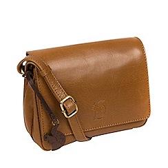 Conkca London Dark Tan Marta Handcrafted Leather Cross Body Bag