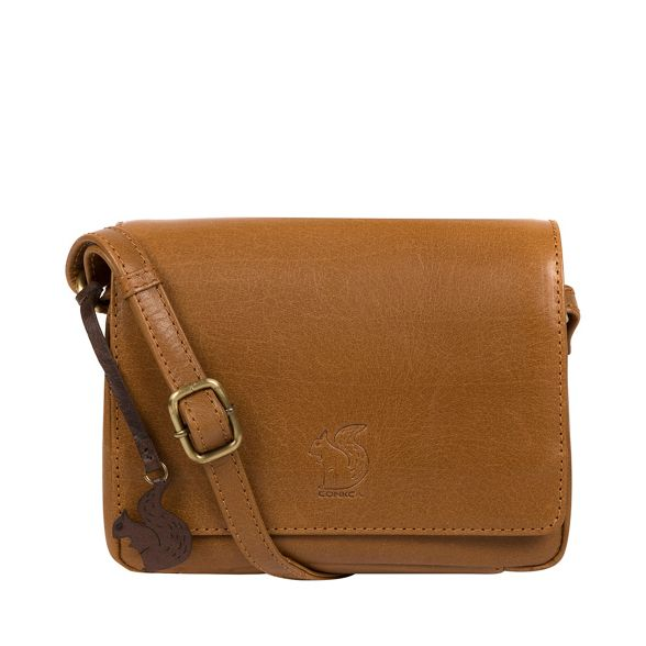 Dark London leather body tan cross bag 'Marta' Conkca handcrafted PTnznfq