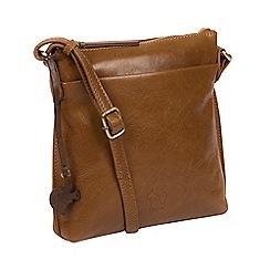 Conkca London - Dark tan 'Nikita' leather compact cross-body bag