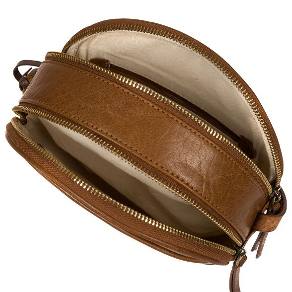 Dark tan London cross Conkca circular 'Rolla' leather bag body 5aqUxROxw