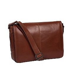Conkca London - Conker brown 'Leao' leather messenger bag