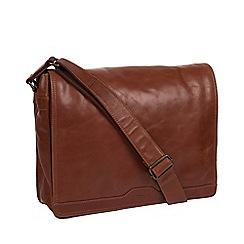 Conkca London - Conker brown 'Zico' leather messenger bag