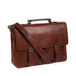 Conkca London - Dark Brown 'Scolari' leather briefcase