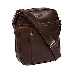 Conkca London - Dark brown 'Carlos' leather despatch bag