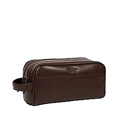 Conkca London - Dark brown 'Alberto' leather washbag