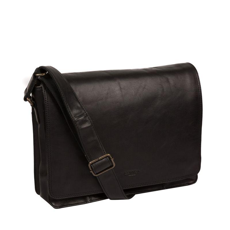 Conkca London - Black Zagallo Leather Messenger Bag