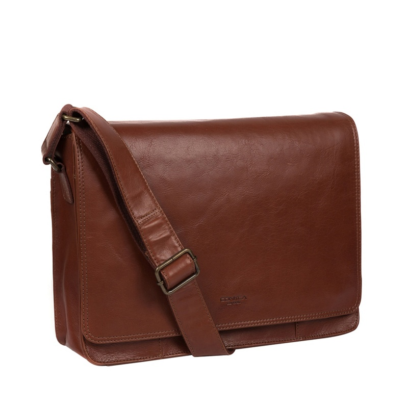 Conkca London - Conker Brown Zagallo Leather Messenger Bag