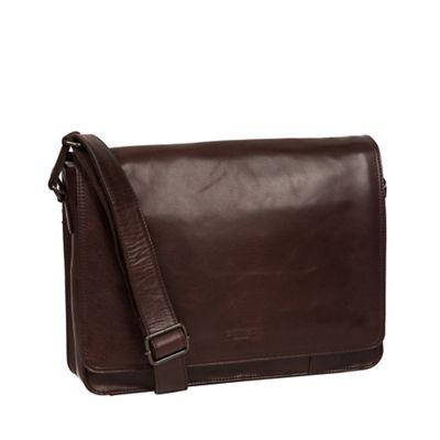 3e2adb952285 Conkca London - Dark brown  Zagallo  leather messenger bag