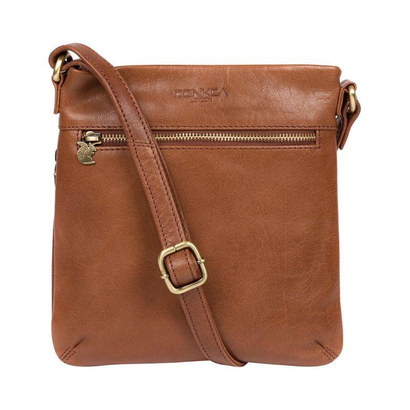 Conkca London - Conker Brown Yayoi Leather Cross-Body Bag