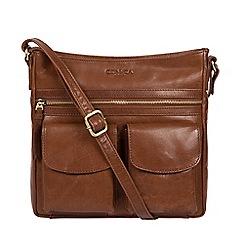 Conkca London - Conker brown 'Bon' handcrafted leather cross-body bag
