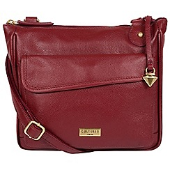 Cultured London Ruby Red Aria Leather Cross Body Bag