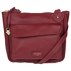 Cultured London - Ruby red 'Aisha' real leather cross-body bag