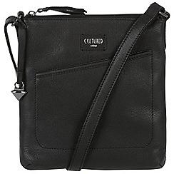 Cultured London - Black 'Bliss' soft leather slim cross body bag