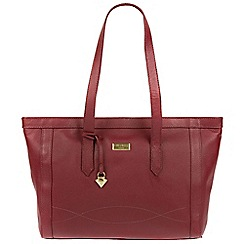 Cultured London - Ruby red 'Ferne' leather tote bag