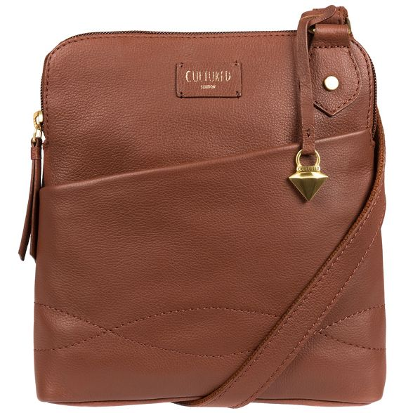 Cultured bag cross body slim brown London Sienna 'Jayne' PfxXw0Prq