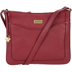 Cultured London - Ruby red 'Margo' soft leather cross body bag