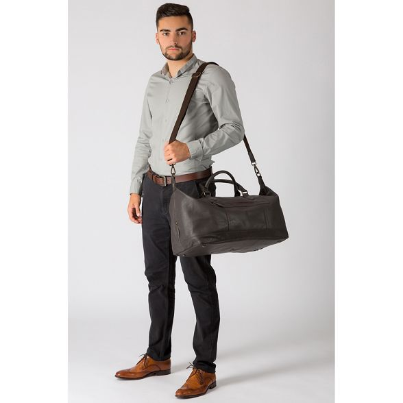 London holdall Cultured Dark brown 'Toure' leather buffalo Sqwg0Udx