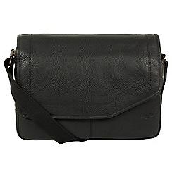 Cultured London - Black 'Reaction' natural leather messenger bag