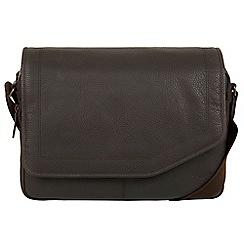 Cultured London - Dark brown 'Reaction' natural leather messenger bag