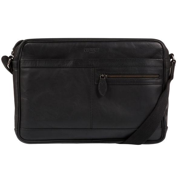 Black bag leather Cultured London messenger 'Trek' Ux74qF