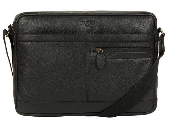 Cultured bag Black London leather messenger 'Trek' 1Rwr1gnq