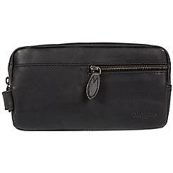Cultured London - Black 'Creek' leather wash bag