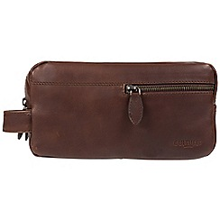 Cultured London - Dark brown 'Creek' leather wash bag