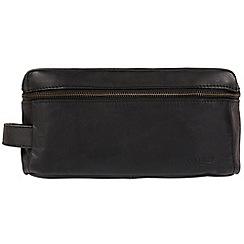 Cultured London - Black 'Flip' natural leather wash bag