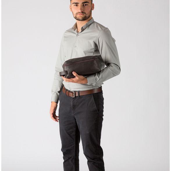 'Flip' buffalo Cultured leather wash bag London Dark brown OwCgwq