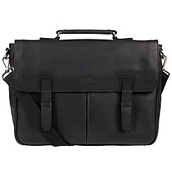 Cultured London - Black 'Task' 14-inch leather laptop briefcase