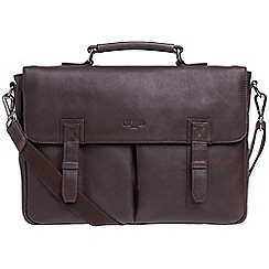 Cultured London - Dark brown 'Task' buffalo leather 14-inch laptop briefcase