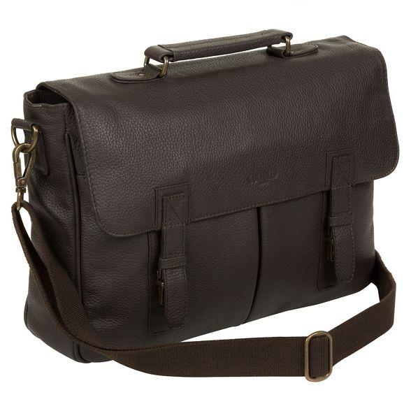 Dark briefcase 14 inch laptop Brown London 'Task' leather Cultured 8IZnq5xwn