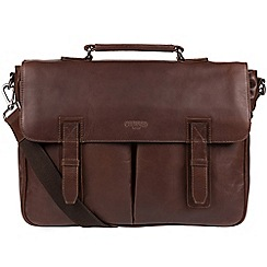 Cultured London - Dark Brown 'Task' 14-inch leather laptop briefcase
