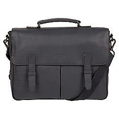 Cultured London - Dark Grey 'Task' 14-inch leather laptop briefcase