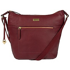 Cultured London - Ruby red 'Portinax' leather hobo bag
