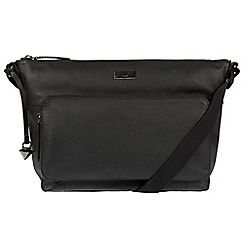 Cultured London - Black 'Serrata' leather cross-body bag