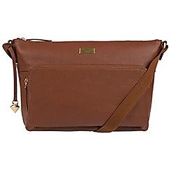 Cultured London - Sienna brown 'Serrata' leather cross-body bag