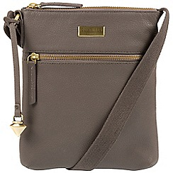 Cultured London - Grey 'Halle' leather cross-body bag