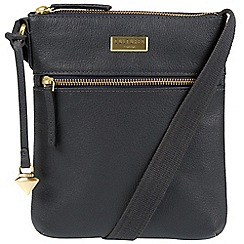 Cultured London - Navy 'Halle' leather cross-body bag