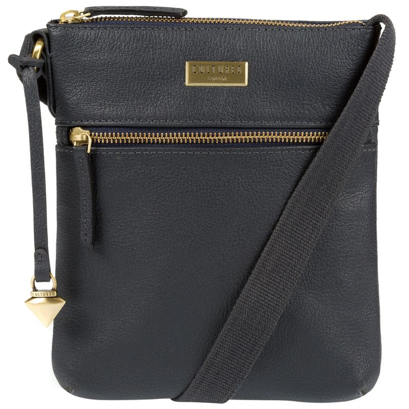 Cultured London - Navy Halle Leather Cross-Body Bag