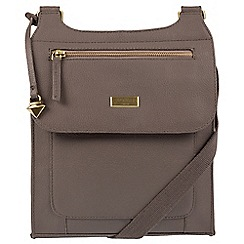 Cultured London - Grey 'Madison' leather cross-body bag